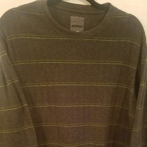 Prana - Mens S Gray with Lime Green Striped Shirt